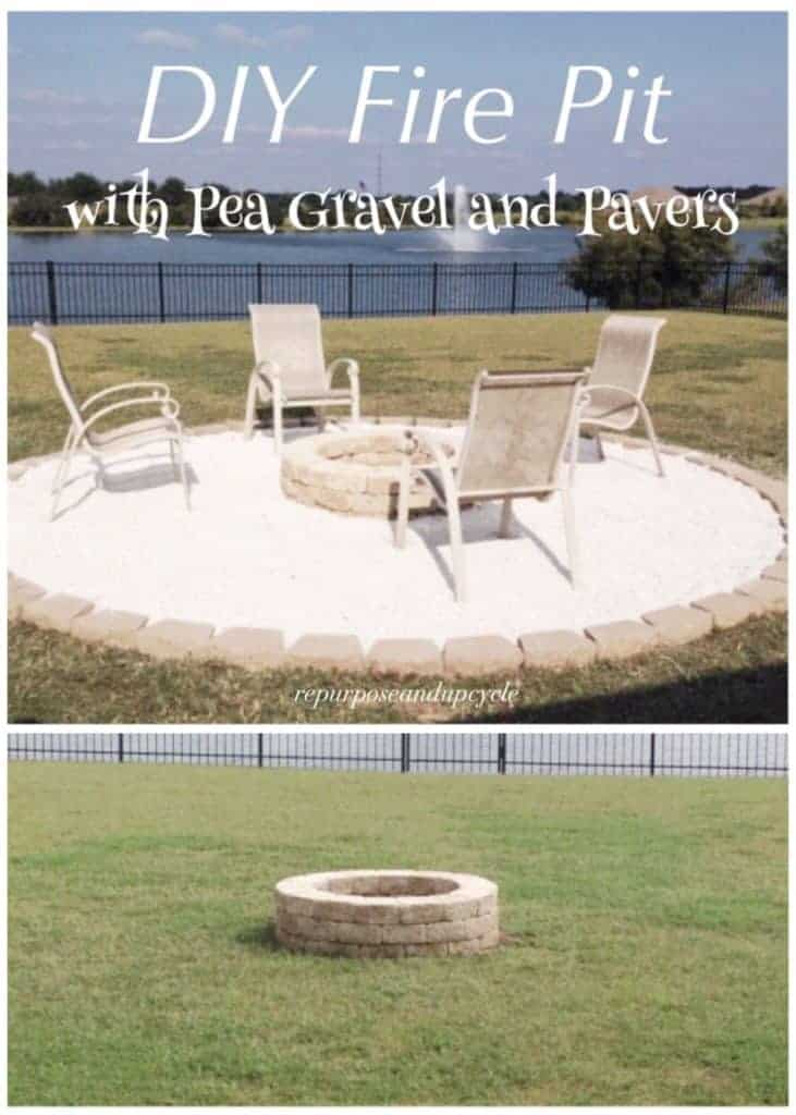 - FIRE PIT WITH PEA GRAVEL AND PAVERS