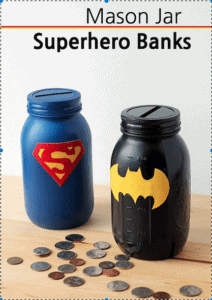 Superhero bank mason jars