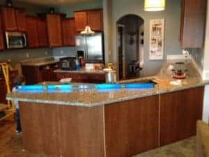 kitchen with new granite countertop installed