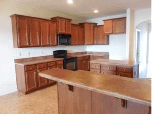 builder grade kitchen before modern farmhouse update