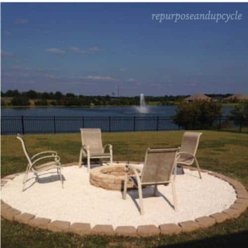DIY Fire Pit makeover with pea gravel and pavers