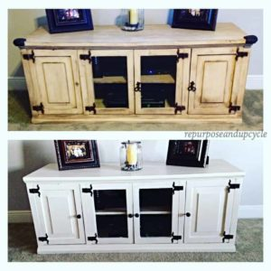 Milk Painted TV Stand before and after