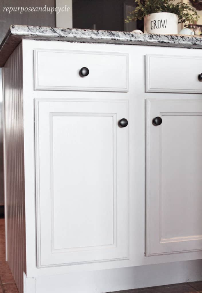 painted white Laminate kitchen cabinets