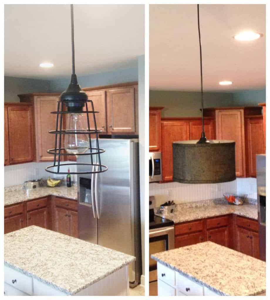 DIY Farmhouse Style pendant light  before and after