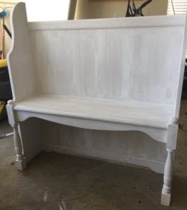 computer hutch repurposed to bench