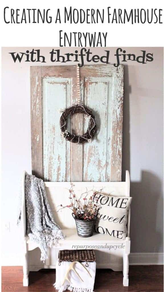 Creating a modern farmhouse entryway with thrifted finds