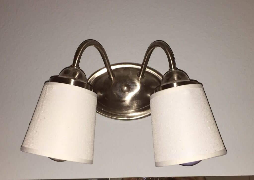 lamp shades on bathroom light fixture