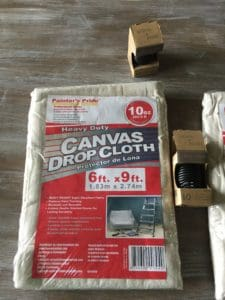 DIY drop cloth curtains supplies