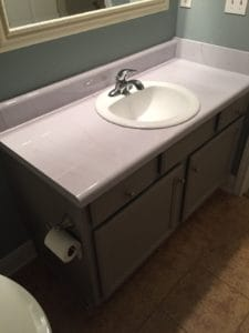 installing DIY Faux Marble Countertops