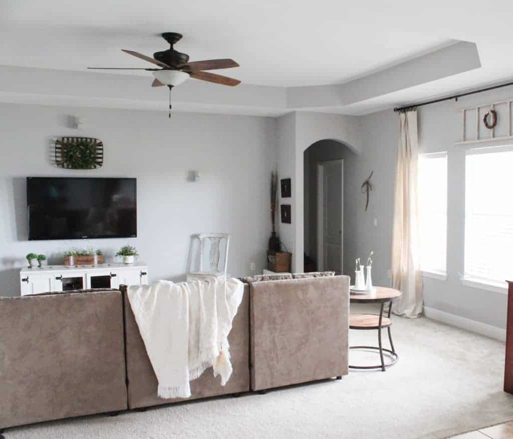 modern farmhouse Living room and DIY Drop Cloth Curtains