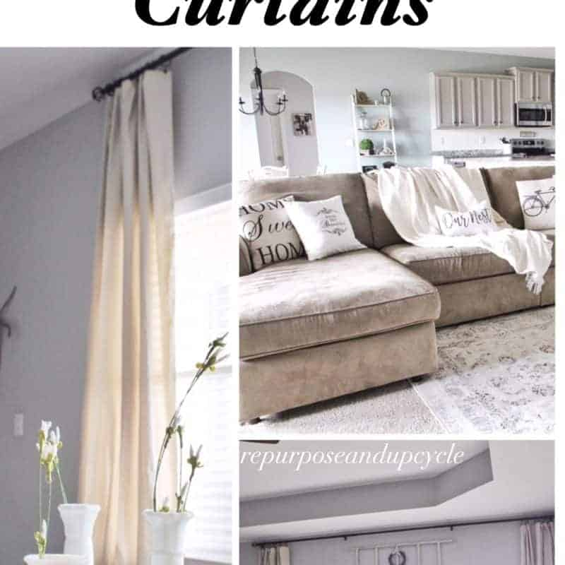 Living room refresh with DIY drop cloth curtains