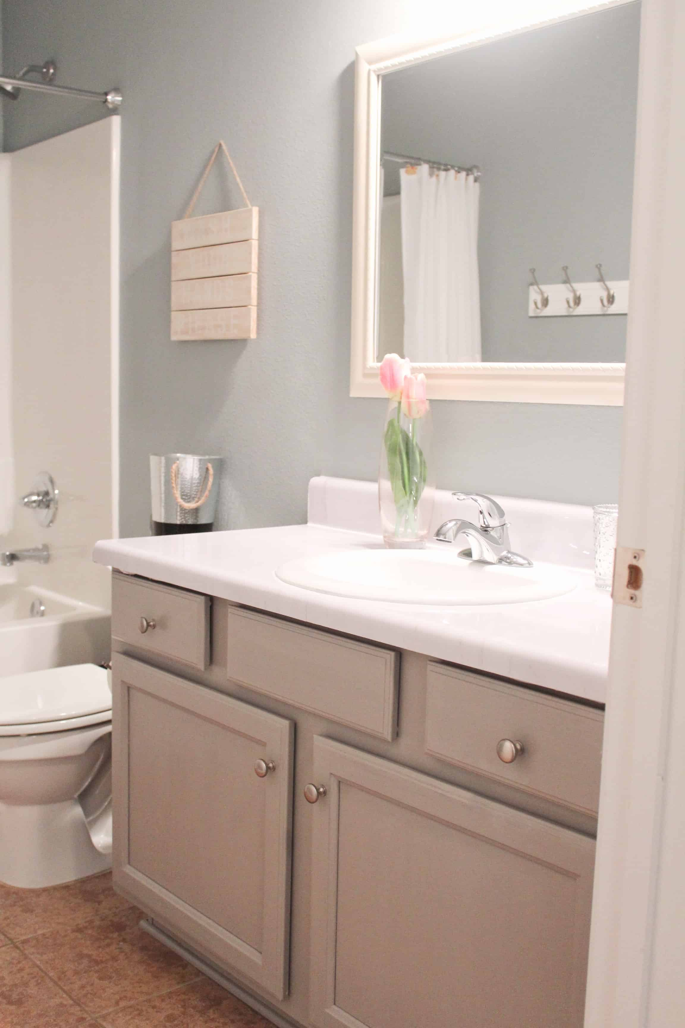 Bathroom update for under 100 including diy faux marble - Cheap bathroom vanities under 100 ...