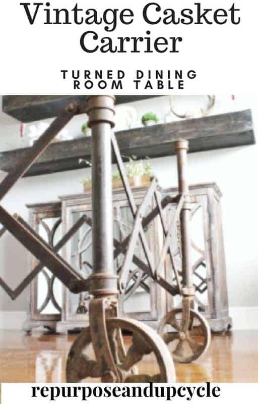 Vintage Casket carrier turned table