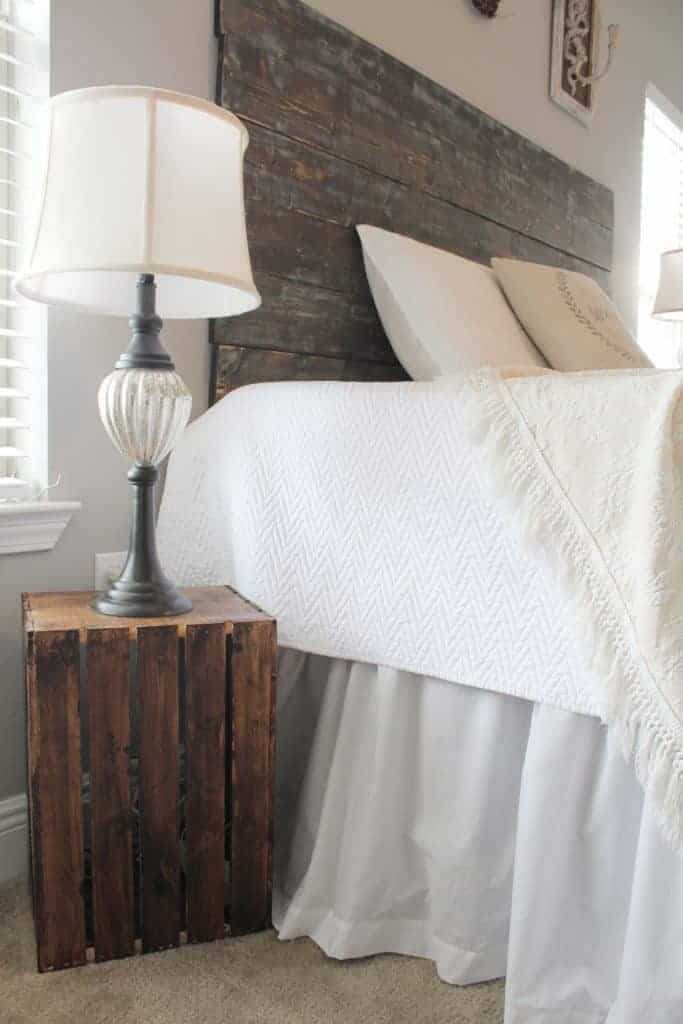 wooden crate decor with wooden crate side table