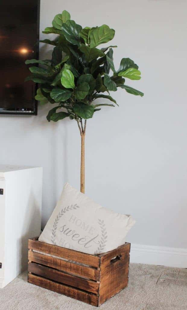 wooden crate decor and wooden crate pillow storage