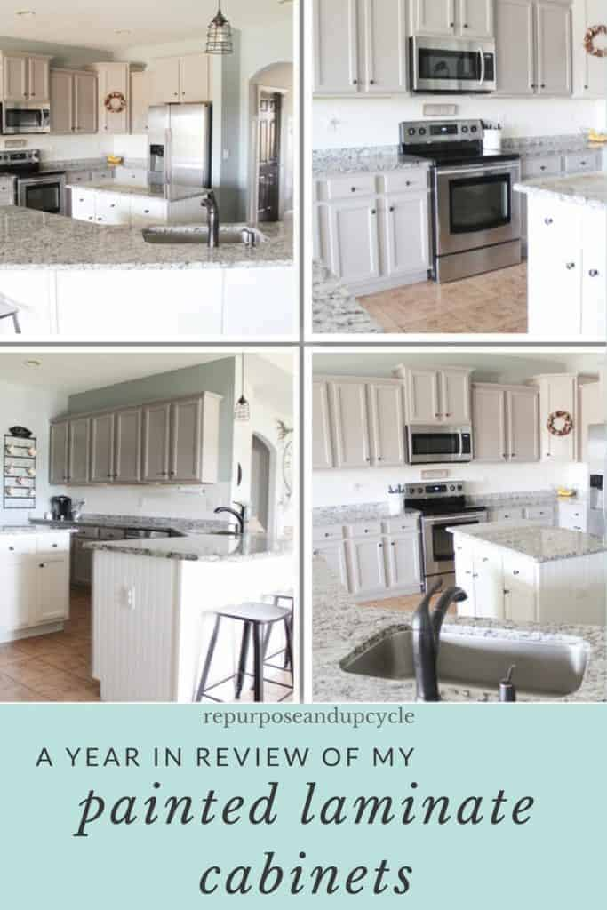A Year In Review Of How I Painted My Laminate Cabinets With Two Methods