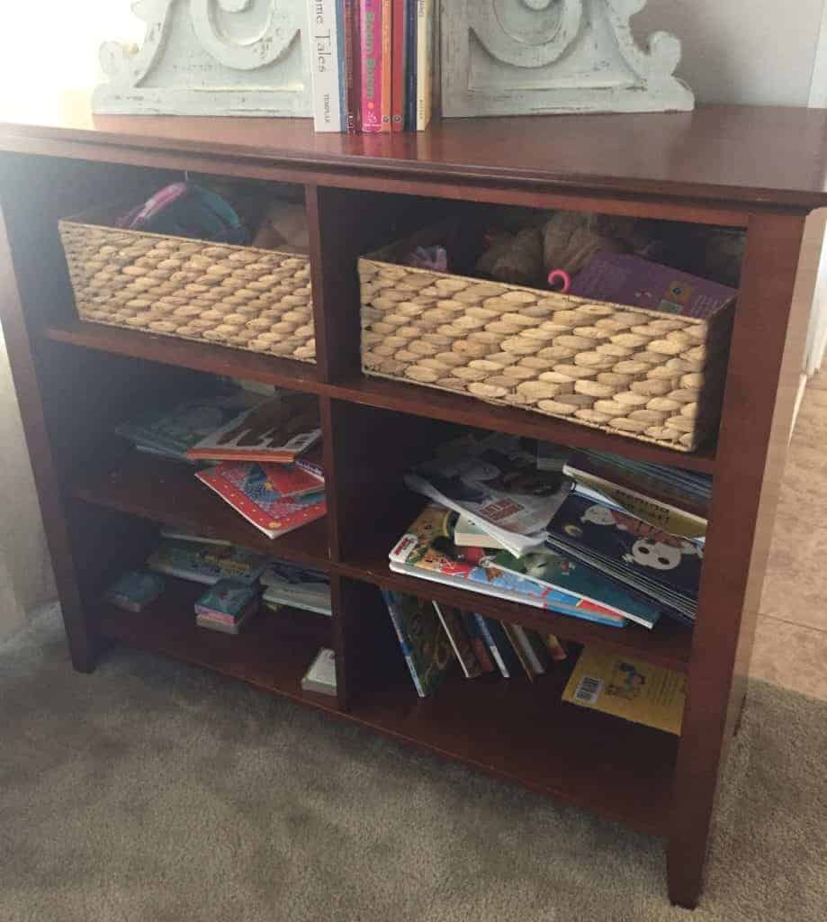the book case before the makeover