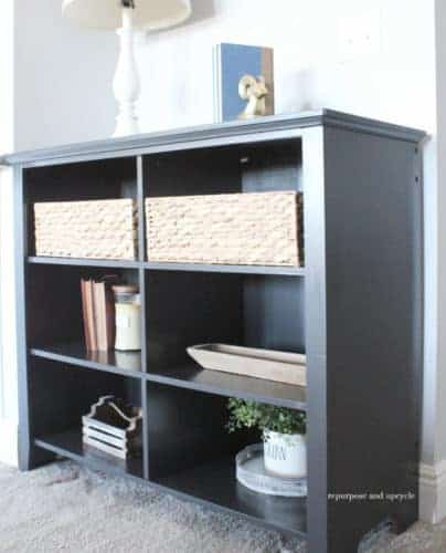 A Faux Wood Bookcase Makeover with Chalk Spray Paint