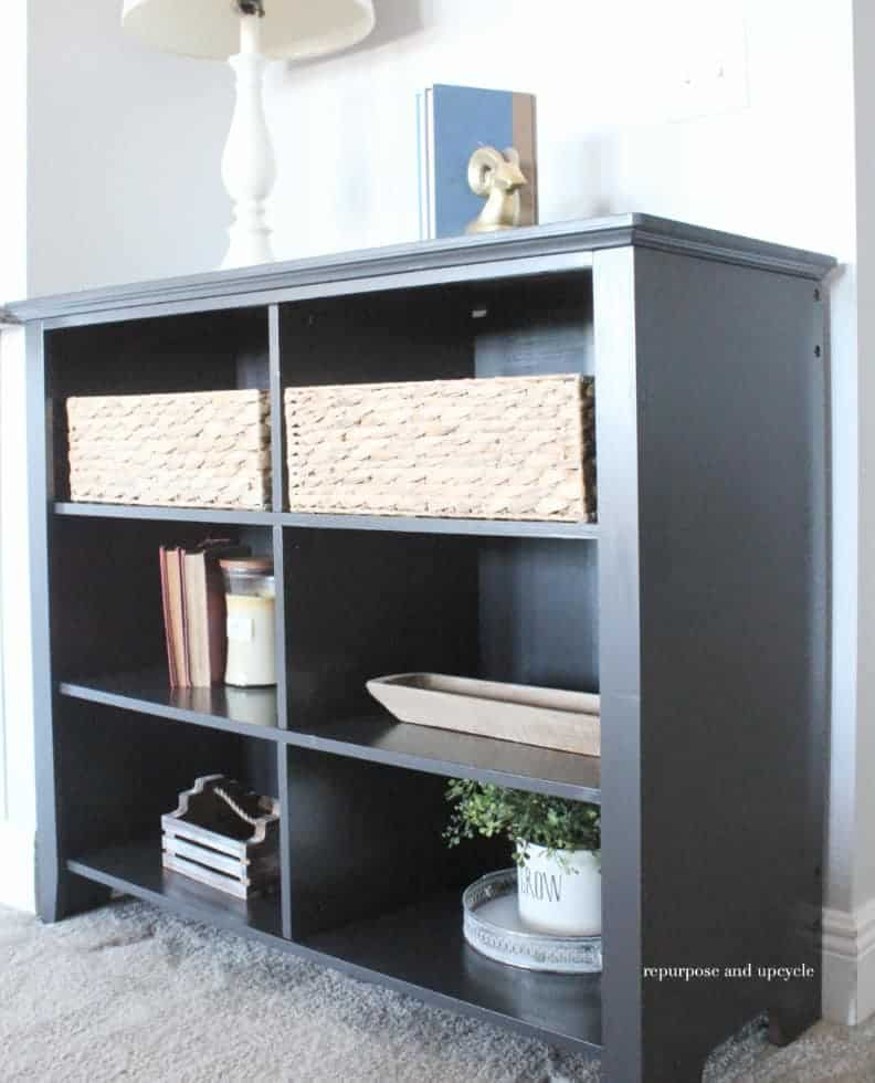 chalk spray painted bookcase