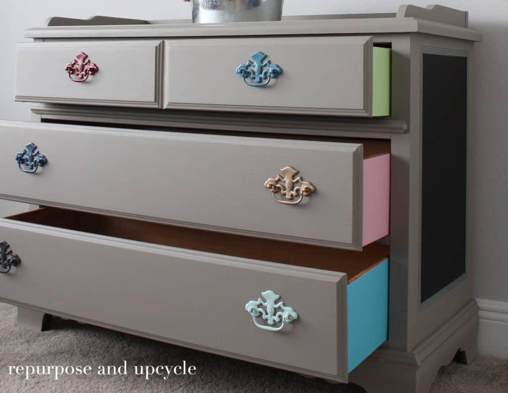 Colorful dresser Makeover
