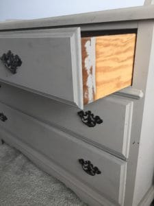 sides of drawers BEFORE dresser makeover