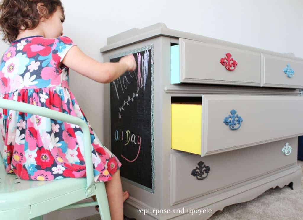 Colorful dresser Makeover with contact paper