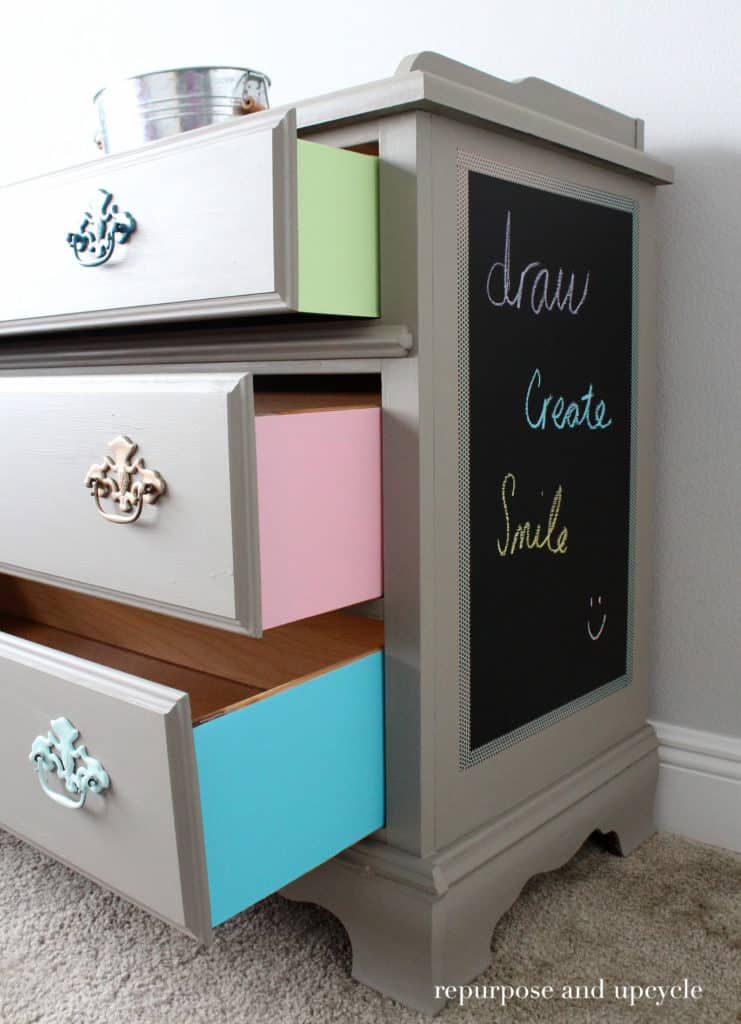 Colorful Furniture Makeover with Adhesive Vinyl Chalkboard Paper