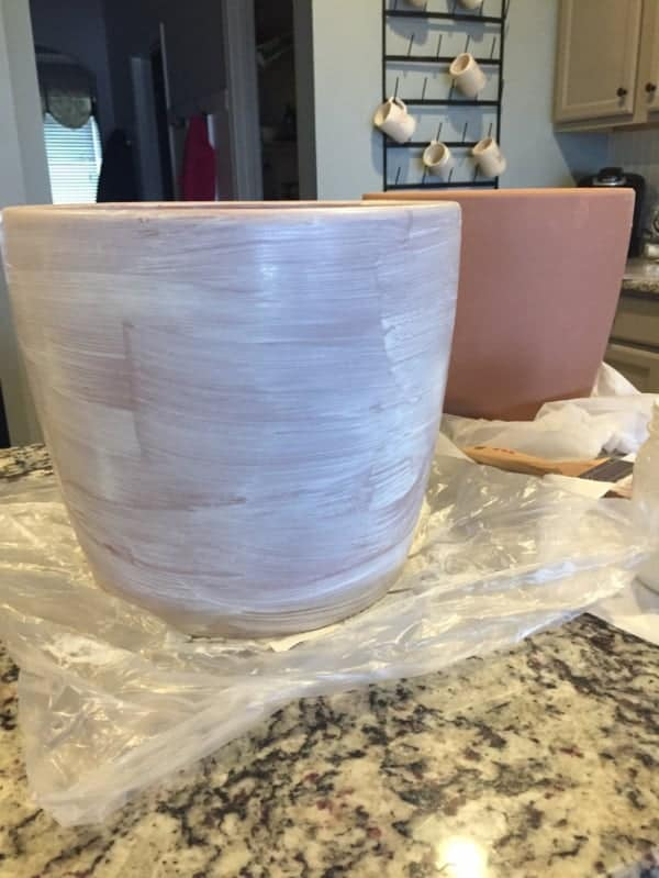 painting terra cotta pot white