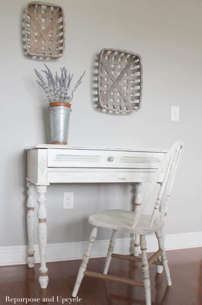 desk makeover with coastal style