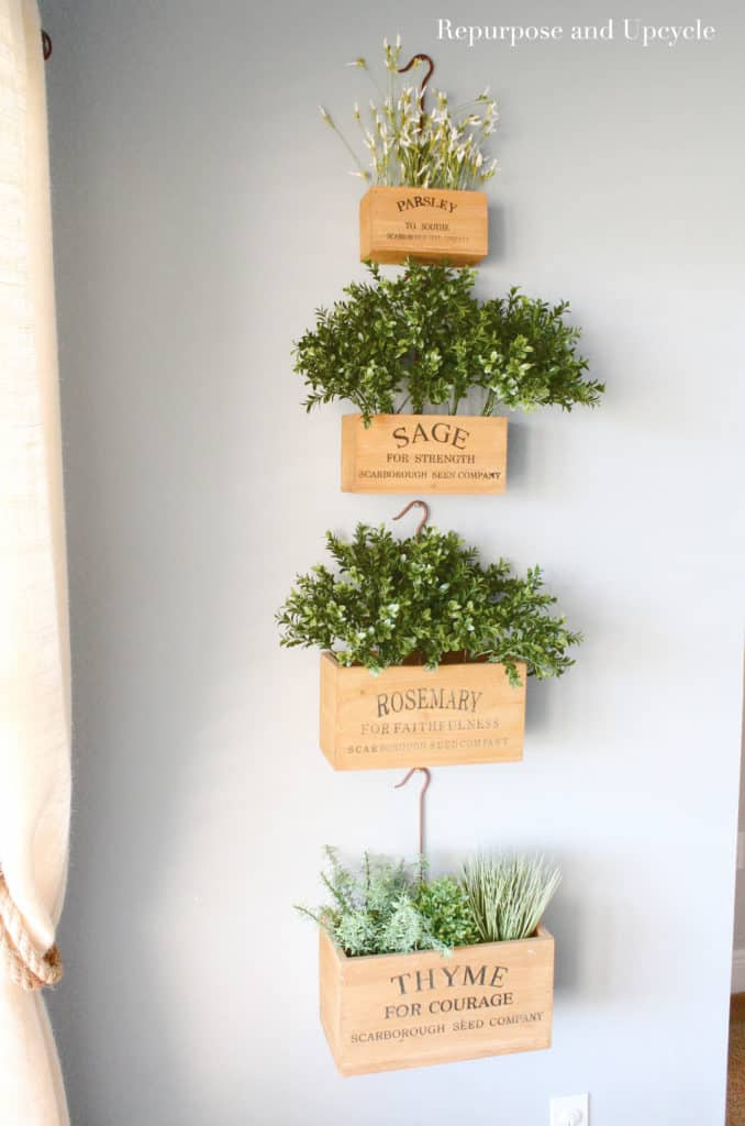 nesting herb boxes with faux greenery