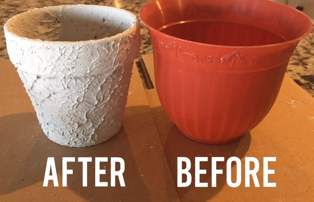 How to add texture to a pot with joint compound