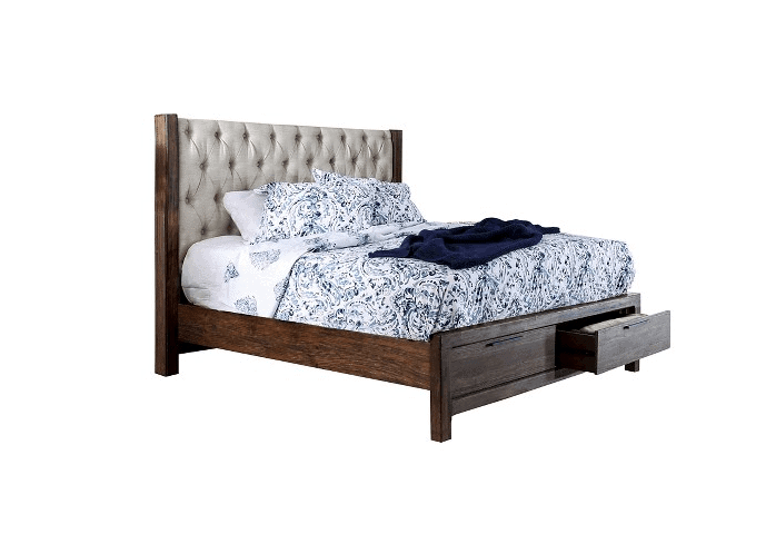 transitional tufted wingback bed