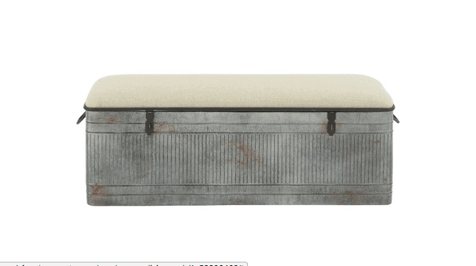 Wood farmhouse storage bench