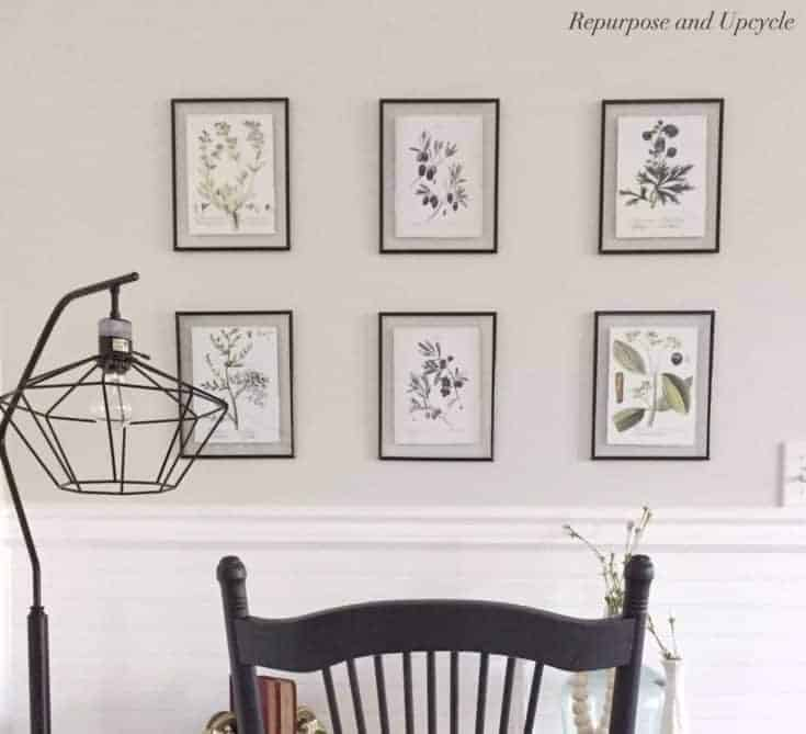 How to hang a group of pictures in a row