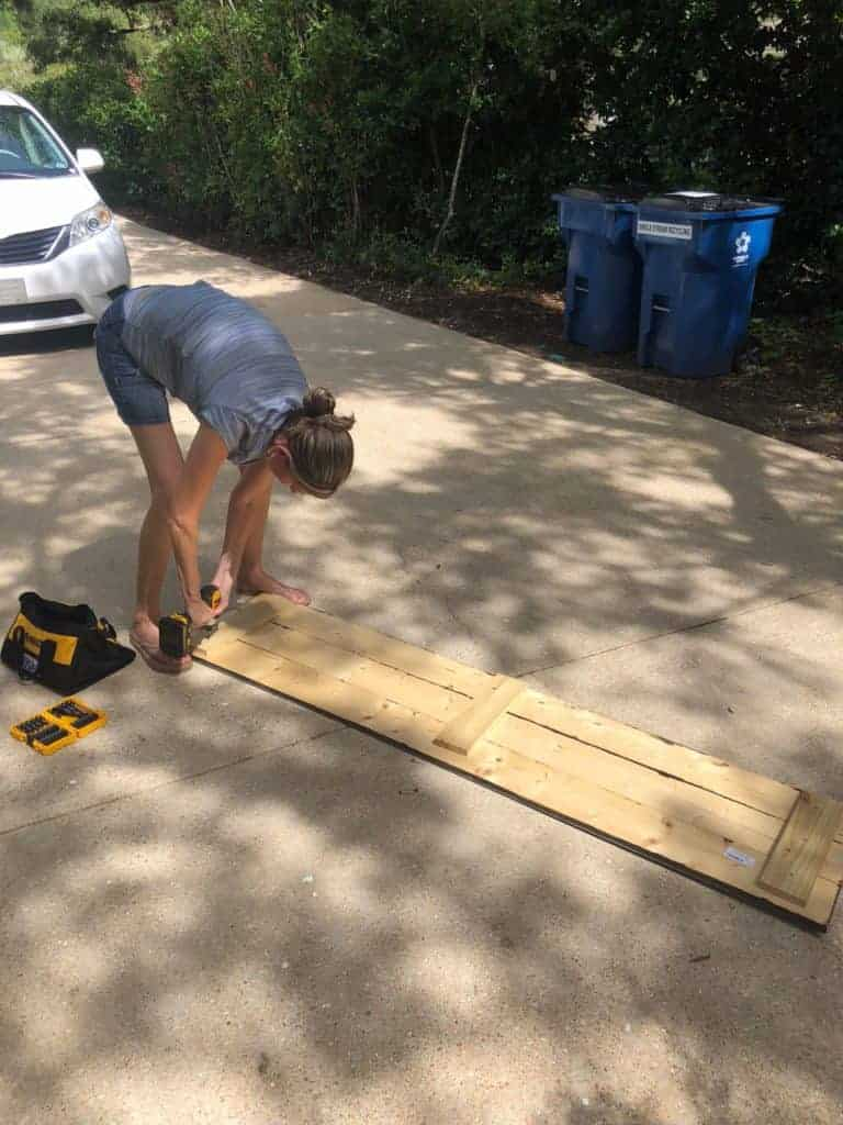 making a DIY wood top for the bench
