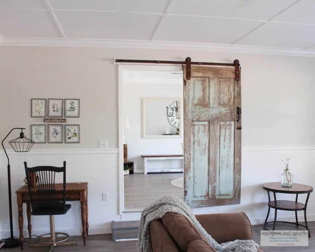 chippy barn door with barn door hardware