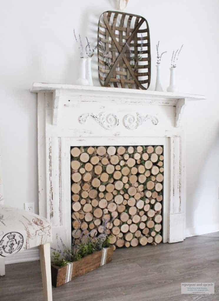 Rustic Cottage Summer Mantel with DIY birch wood insert