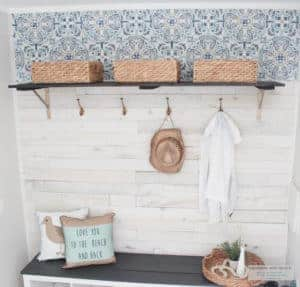 mudroom makeover with peel and stick wallpaper