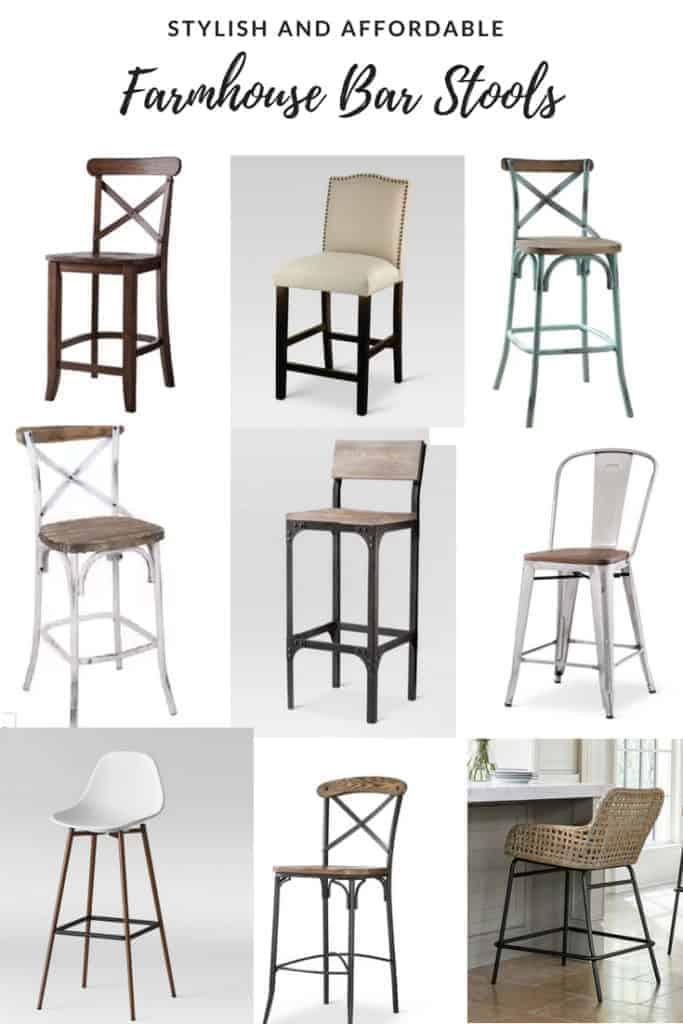 Affordable farmhouse style bar stools with backs