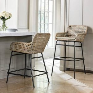 Coastal farmhouse woven bar stools