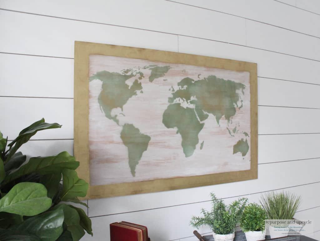 DIY world map art on wood
