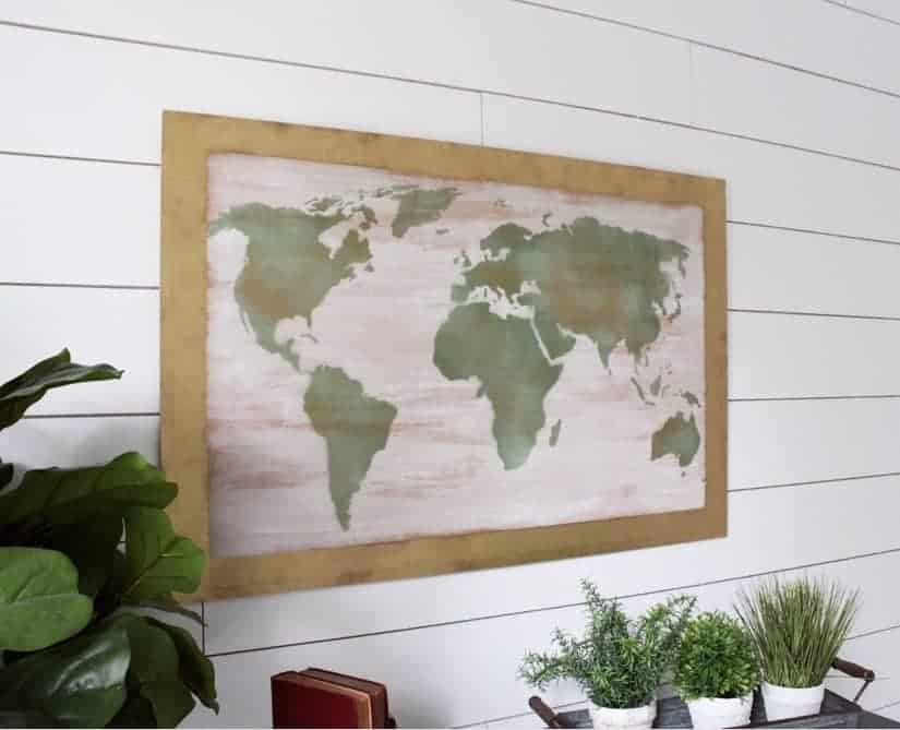 Diy world map art on wood world map art on wood gumiabroncs Image collections