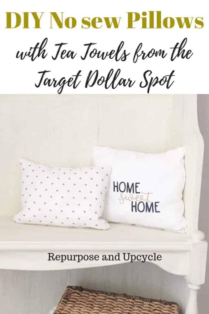 DIY no sew pillows with tea towels