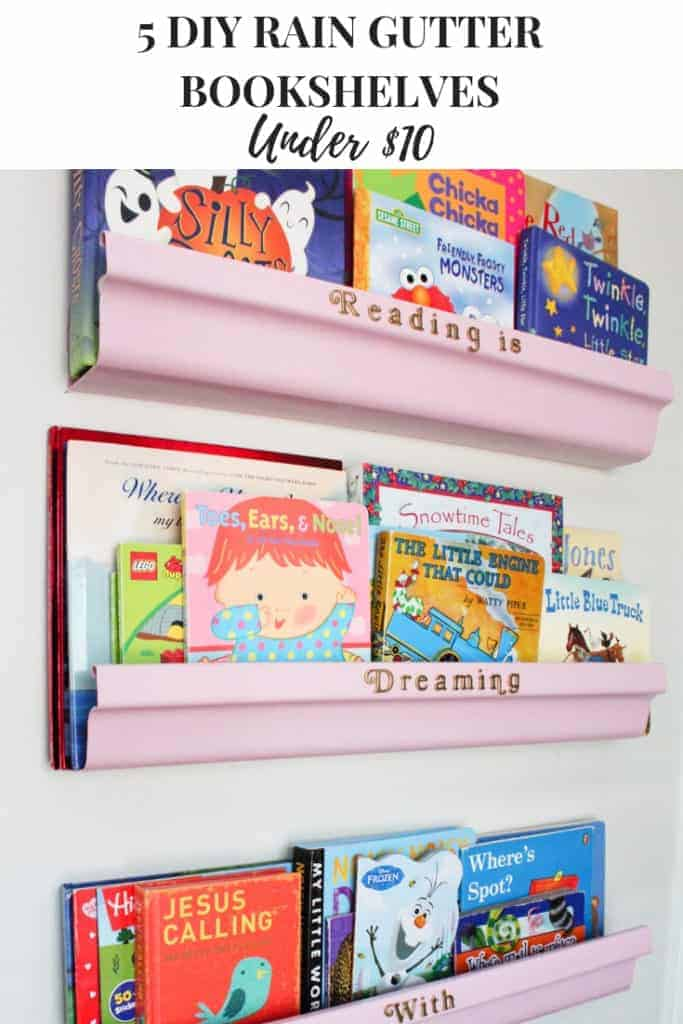 DIY rain gutter shelves