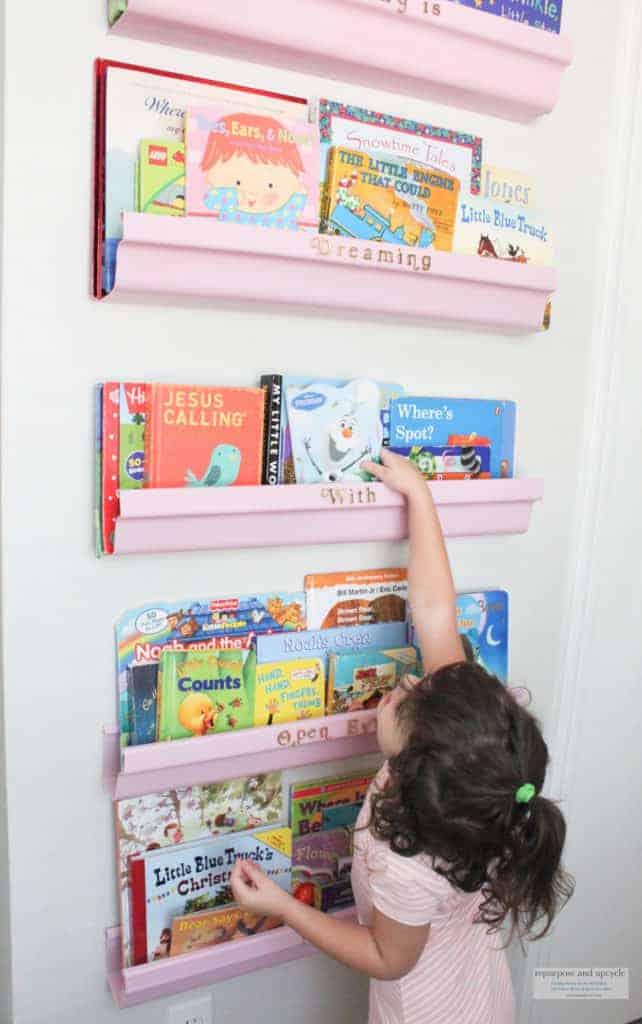 FIve DIY rain gutter bookshelves