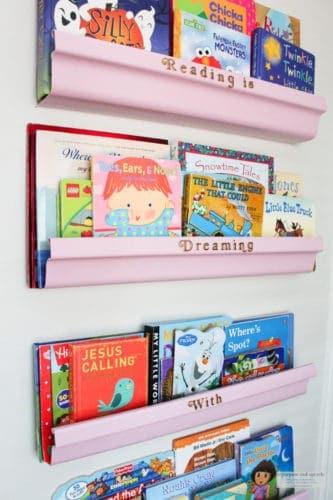 Five DIY Rain Gutter Bookshelves for Under $10