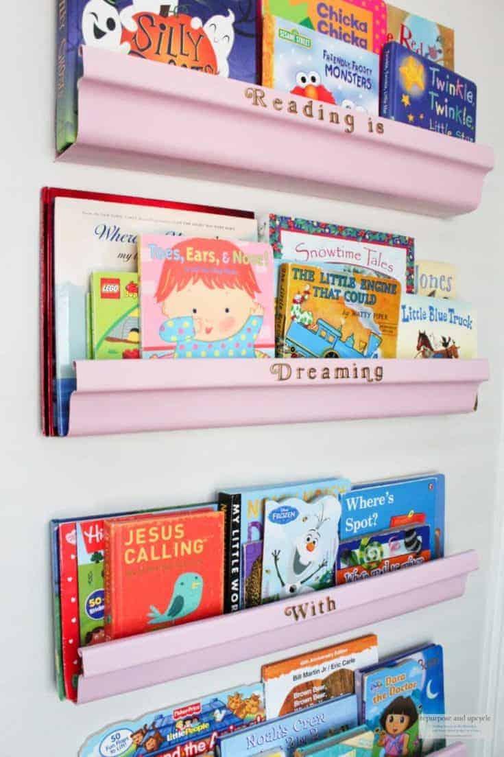 Five DIY Rain Gutter Bookshelves Under $10