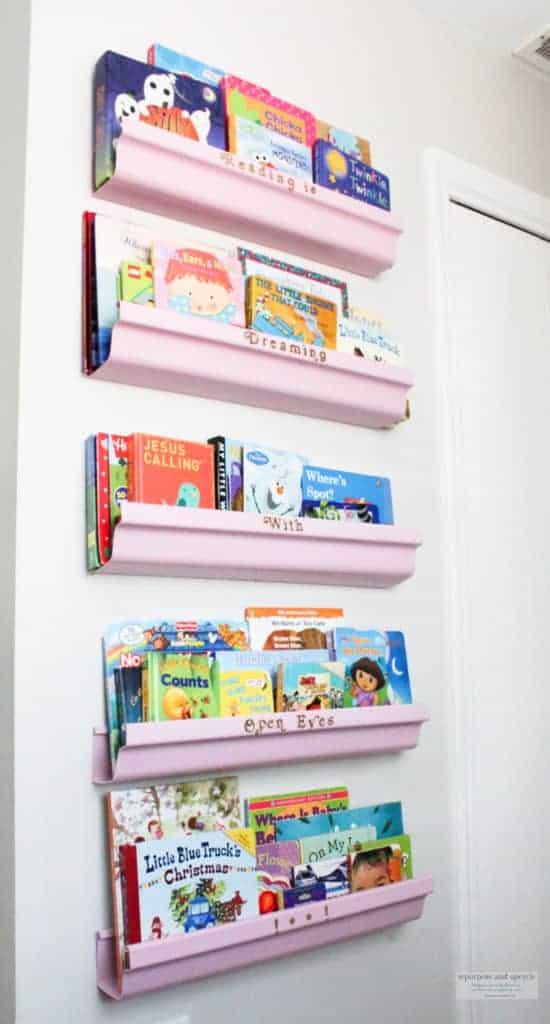 DIY Rain gutter bookshelves