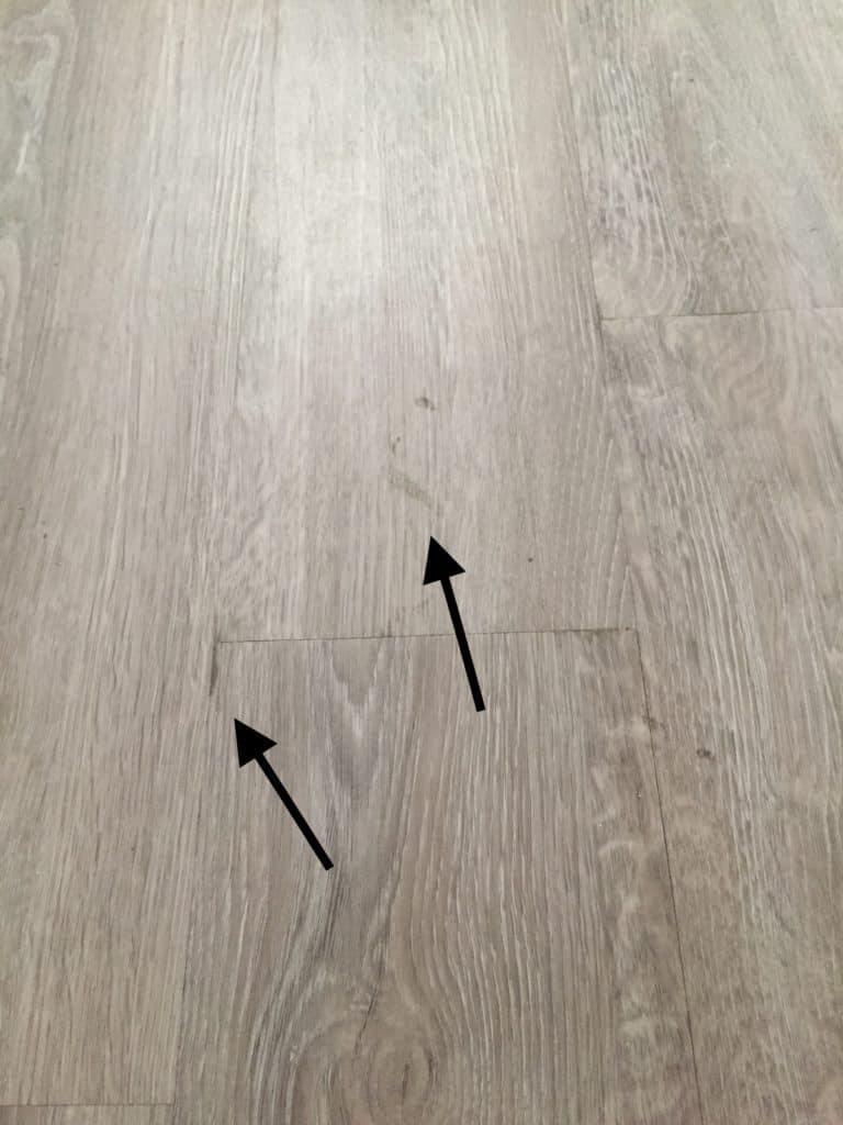 glue remnants from LVT