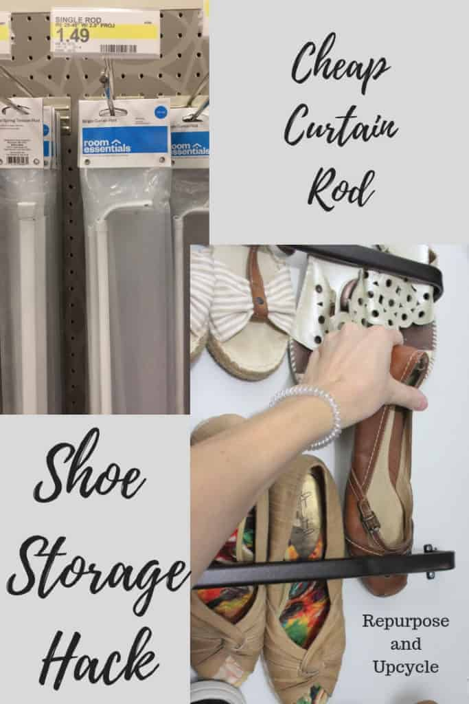 Small Closet Shoe Organization with Curtain Rods